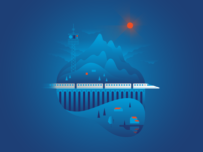 Train & Technology landscape buildings railway train gradient graphic vector illustraion