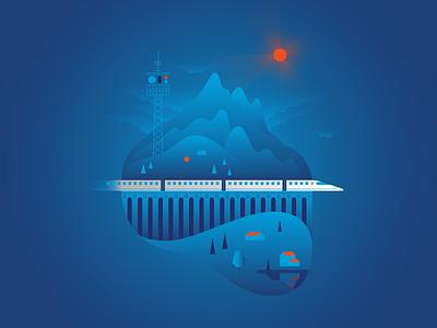 Train & Technology landscape buildings railway train gradient graphic vector illustraion