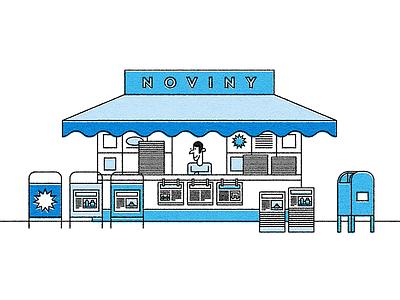 Newspaper Stand (kiosque) kiosque newspaper illustration