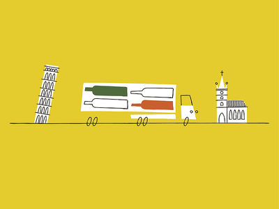 Vino Italiano truck leaning tower italy wine illustration