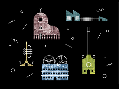 Music Town buildings town music instruments music illustration