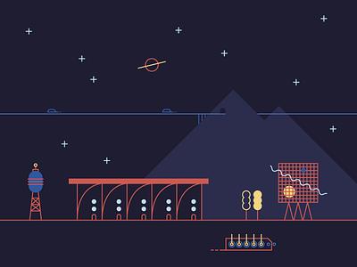 Hatti Vatti Land stars space building landscape illustration