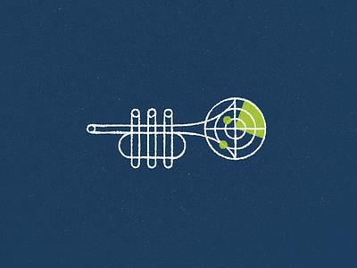 Find That Jazz radar jazz trumpet illustration logo