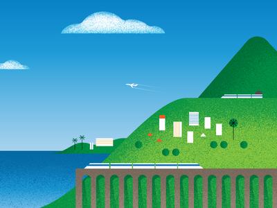 Coastal View bridge train sea landscape illustration