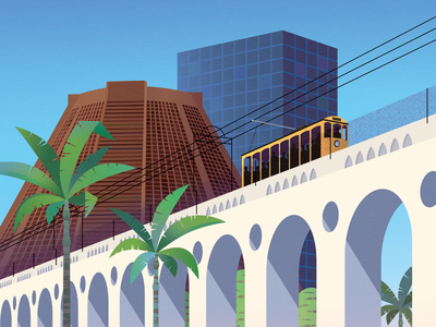 Arcos da Lapa rio de janeiro brazil buildings city tram bridge viaduct illustration