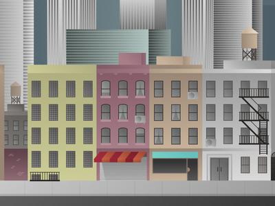 New York Street new york buildings street illustration