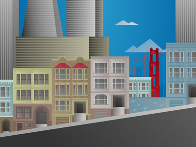 San Francisco Street san francisco buildings street illustration