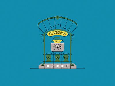 Paris Metro Entry hector guimard metropolitain metro paris illustration
