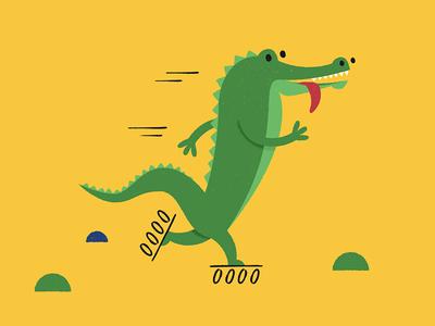 Crocodile Skater skater in-line crocodile illustration