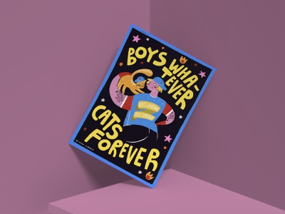 Charity postcard «Boys whatever cats forever» bright color boys cats charity event charity funny character funny cat cat illustration cat drawing cat draw procreate artist art postcards illustrator illustration art illustration drawing artwork
