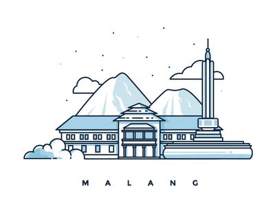 Malang Illustration design illustration city malang tugu stroke