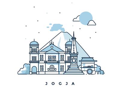 Yogyakarta - Illustration jogja design illustration stroke vector city yogyakarta tugu landmark blue