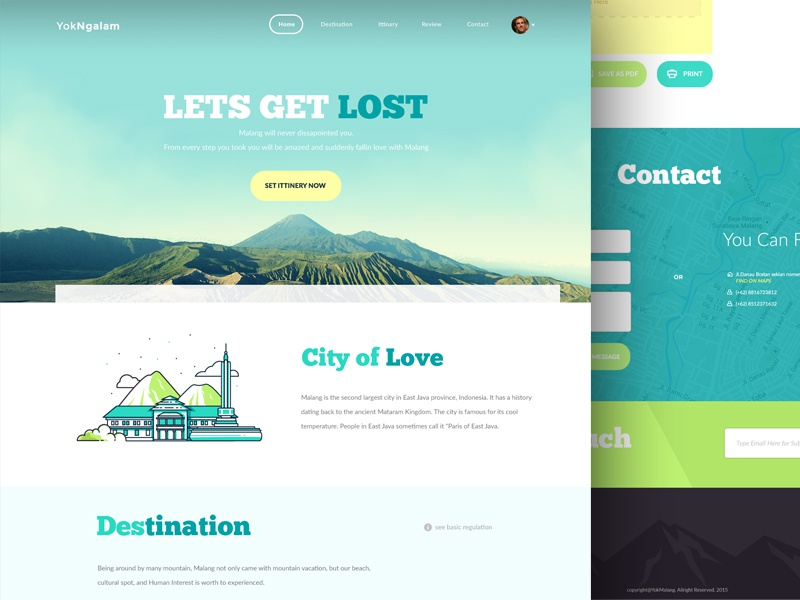 YukNgalam - Travelsite Freebie design ui website travel ittinery footer mountain bromo destination icon form freebie