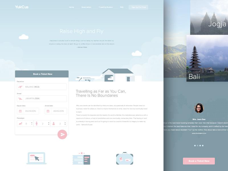 YukCus - Free Booking Flight Template booking journey icon template freebies travel flight illustration ux ui website design