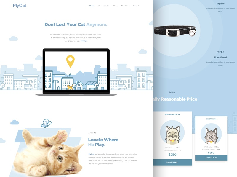 MyCat - Free Landing Page line product pricing collar cattery cat landingpage website design