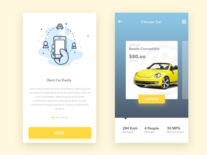 Yuhuu - Online Car Rental illustration onboarding information rental car app mobile ui design