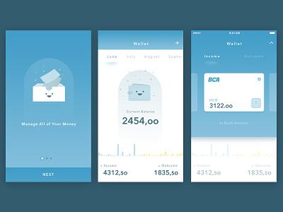 Simple Wallet App card wallet onboarding illustration app iphone mobil ux ui design