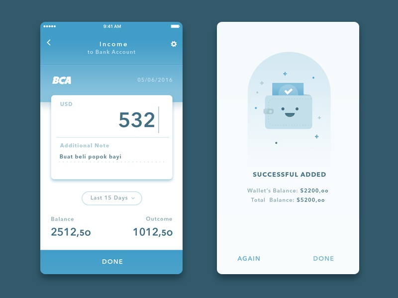 Simple wallet app2 by dany rizky dribbble for Easy app design