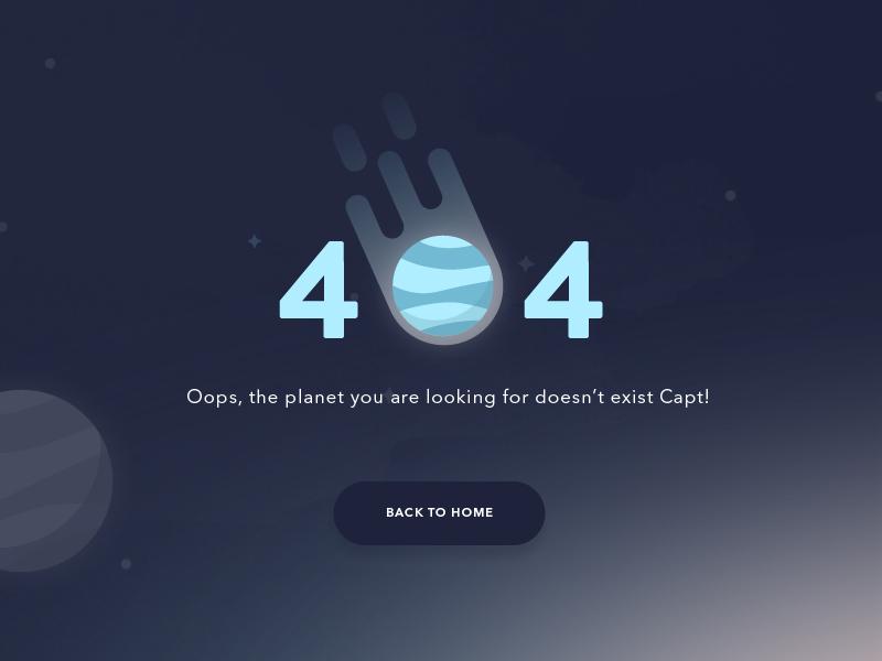 404 - Oops planet website page landing error 404 ui design
