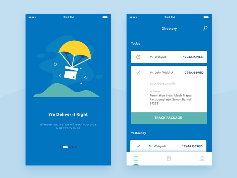 Package track shipping app by dany rizky dribbble for Home design app android