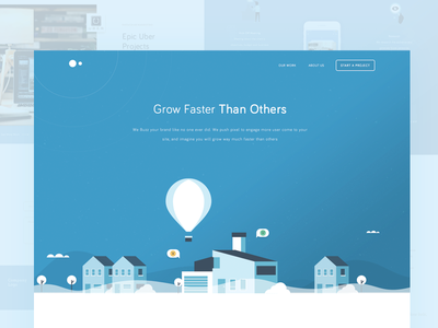 Marketing Agency's Landing Page agency website header illustration baloon marketing page landing ux ui design