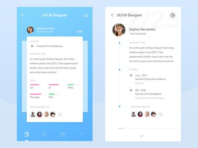 Recruitment App - Exploration mobile ios app hunter head profile recruitment card ux ui design