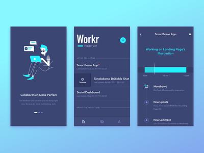 Workr - Exploration onboarding illustration timeline management project exploration ux ui design