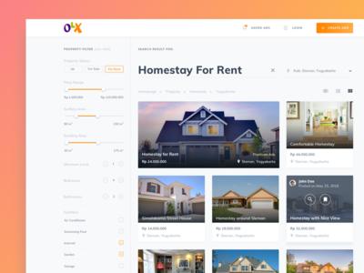 Weekend Exploration - OLX Website filter website house property exploration ux ui design