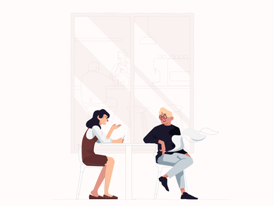Warm Talk smoking window discuss talk people illustration