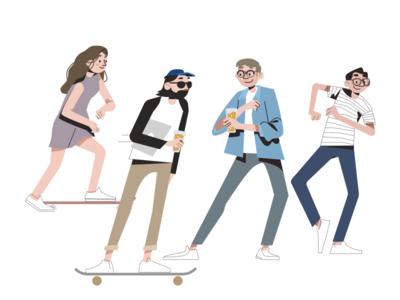 Happy Holidays! skate team people dance happy illustration design