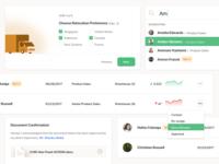 Card UI app management employee attachment checkbox card dashboard design