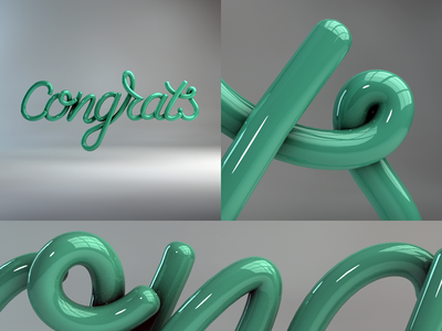 Congrats! handwritten typography type shade reflection global illumination wedding 3d c4d cinema4d