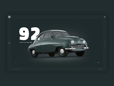 Saab - 92 automobile vintage retro brand dark web design saab car