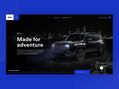 Jeep Renegade Night Eagle II car jeep web landing design website dark ux ui