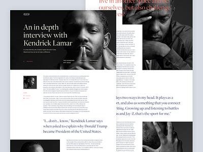 Kendrick Lamar - Vice interview vice design hiphop rapper web typography interface ux ui webdesign kendrick lamar