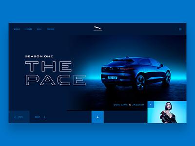 The Pace - Jaguar webdesign landing car jaguar dua lipa dark shiny interface ux ui