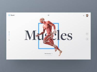 Scientific E-learning Concept light clean muscles human science anatomy landing page landing webdesign ux ui