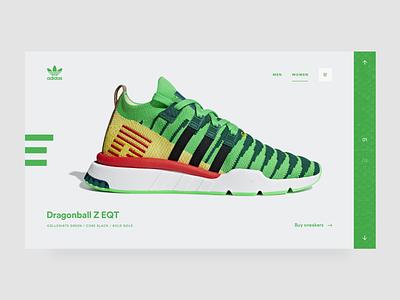 Adidas Dragonball Z dragonball dragonballz webshop sneakers adidas interface webdesign ui design