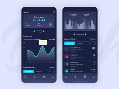 Money saver App (Dark UI)