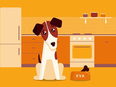 Monocromatic illustration of the fox terrier flat web ui vector yellow kitchen orange brown foxterrier dog illustration monochromatic monochrome