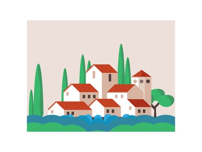 House in the lavender field home flat field trees lavender triad vector ui illustration design building houses house