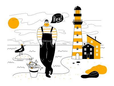 Fisherman digitalart clouds house gull bird man catch coast sea fish lighthouse sailor fisherman building black yellow flat design vector illustration