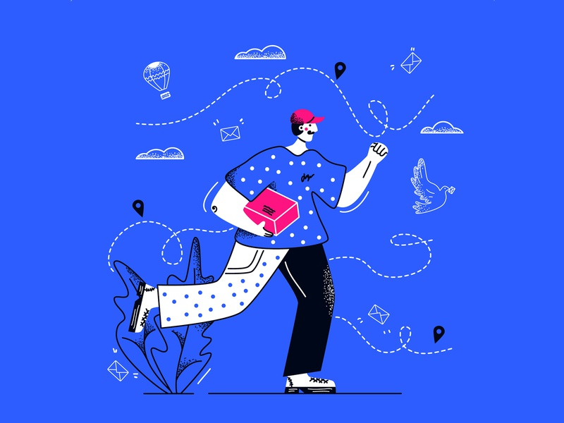Courier mail worker balloon dove order direction service bussines man express messenger carrier box package delivery line art flat illustration vector courier