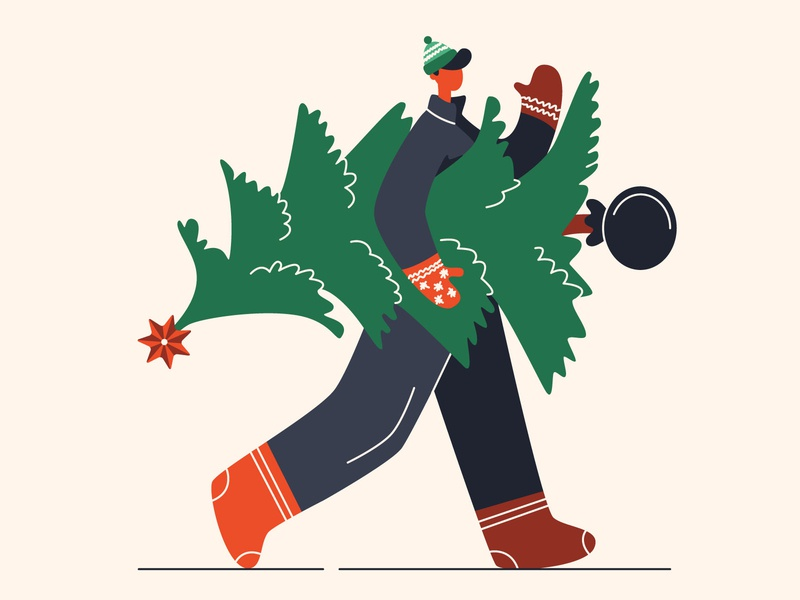 Man with Christmas tree carry boots character boy hat spruce cold mittens new year winter man christmas tree christmas flat vector illustration