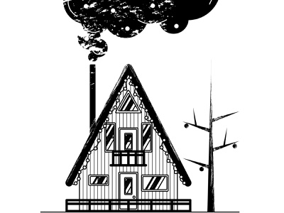 Wisp black and white architecture home tree wooden scandi windows chimney smoke wisp building house vector