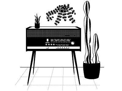 Radio tuner wireless music music player potted plant retro flower pot plant cactus radio black and white