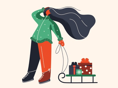 Girl ice skating postcard illustration vector mittens green red flat sleigh ice skating gifts christmas character person woman girl