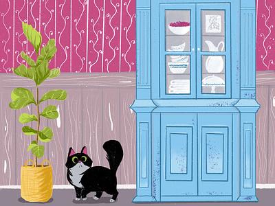 Black cat procreate room pot flower plant dishes buffet cupboard cat character design illustration