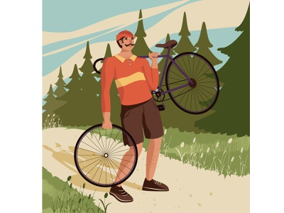 The bike broke sport male grass tour wheel road forest bycicle cyclist bike man character flat illustration vector