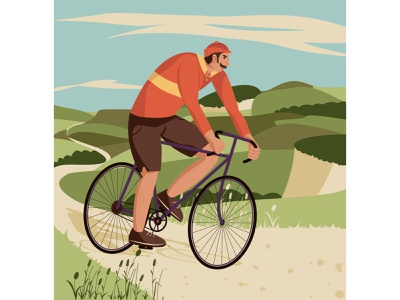 Tour de France grass bicycle ride bicycling cloud nature road hills sport bike cyclist man character design flat illustration vector